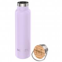 MontiiCo, 600 ml - Edelstahl Trinkflasche mit Bambusdeckel