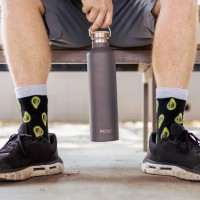 MontiiCo, 1000ml - Edelstahl Trinkflasche mit Bambusdeckel