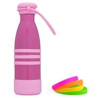 Yumbox AQUA, 420ml - Edelstahl Trinkflasche mit Trageband