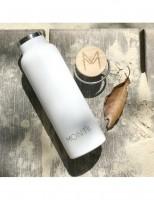 MontiiCo - Edelstahl Trinkflasche mit Bambusdeckel, 600 ml